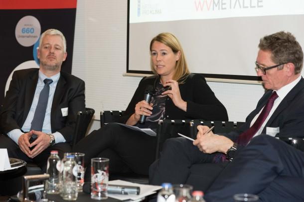 Franziska Erdle (WVMetalle) in den Paneldiskussion